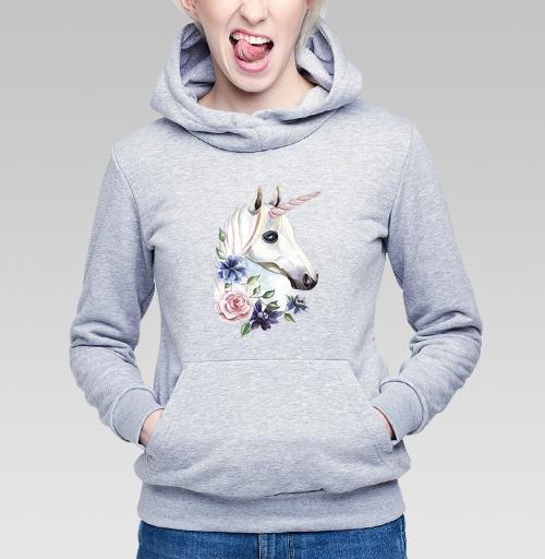 Толстовка Женская серый меланж 340гр, утепленная - Единорог в цветах