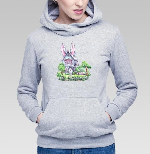 Толстовка Женская серый меланж 340гр, утепленная - Домик Мартовского Зайца