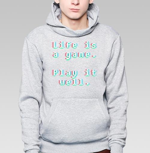 Толстовка мужская, накладной карман серый меланж - Жизнь - игра