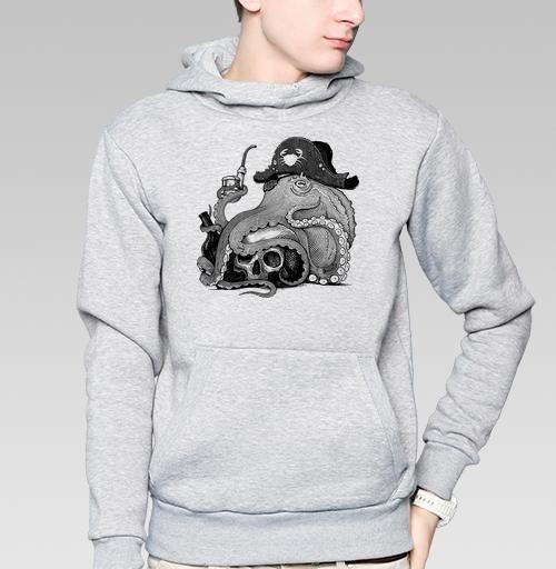 Толстовка мужская, накладной карман серый меланж - Ветеран