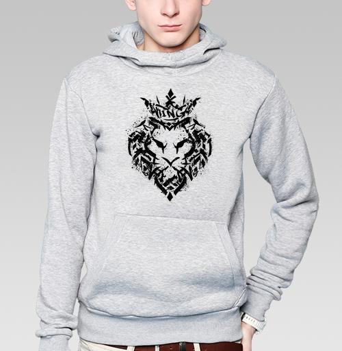 Толстовка мужская, накладной карман серый меланж - Граффити лев