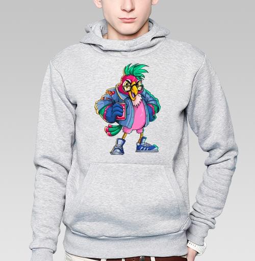 Толстовка мужская, накладной карман серый меланж - Попугай Кешью