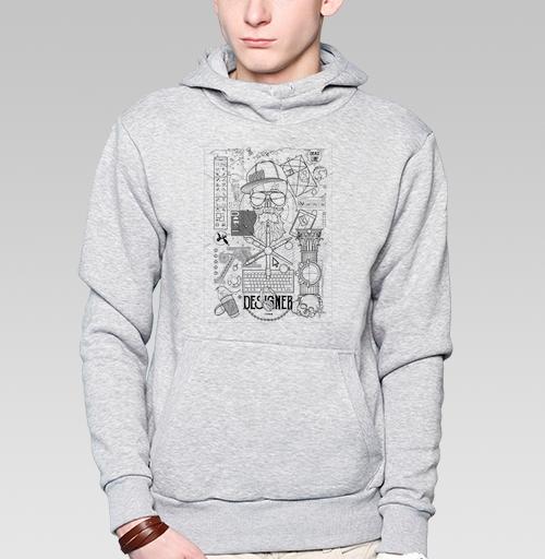 Толстовка мужская, накладной карман серый меланж - Профессия дизайнер