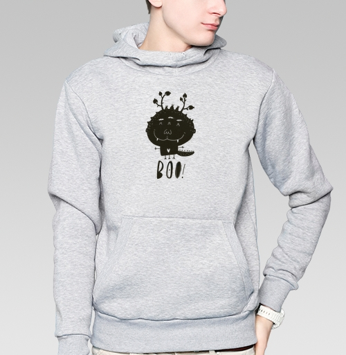Толстовка мужская, накладной карман серый меланж - Бууу