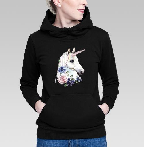 Толстовка Жен. черная - Единорог в цветах